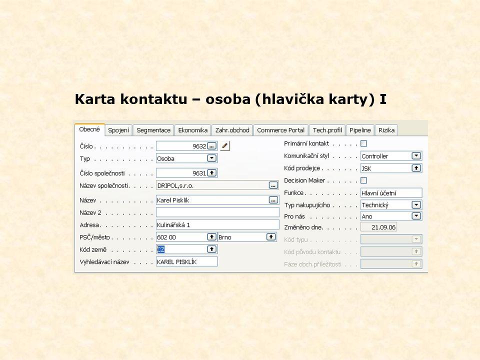 Karta kontaktu- společnost (hlavička karty) I