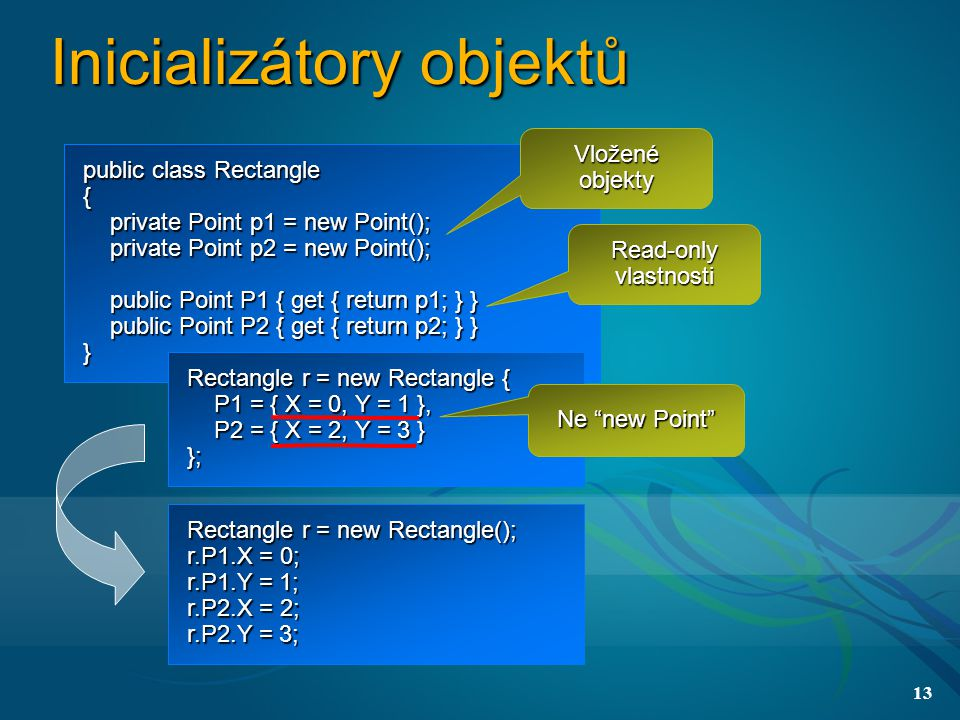 13 Inicializátory objektů public class Rectangle { private Point p1 = new Point(); private Point p1 = new Point(); private Point p2 = new Point(); private Point p2 = new Point(); public Point P1 { get { return p1; } } public Point P1 { get { return p1; } } public Point P2 { get { return p2; } } public Point P2 { get { return p2; } }} Rectangle r = new Rectangle { P1 = { X = 0, Y = 1 }, P1 = { X = 0, Y = 1 }, P2 = { X = 2, Y = 3 } P2 = { X = 2, Y = 3 }}; Rectangle r = new Rectangle(); r.P1.X = 0; r.P1.Y = 1; r.P2.X = 2; r.P2.Y = 3; Vložené objekty Ne new Point Read-only vlastnosti