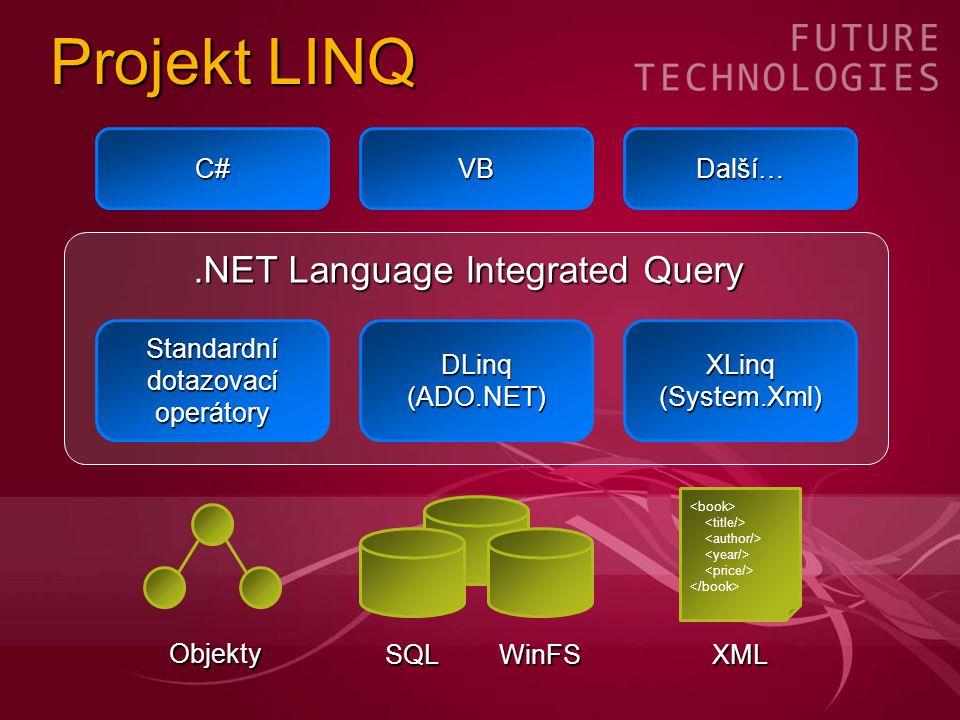 Projekt LINQ Standardnídotazovacíoperátory Objekty DLinq (ADO.NET) XLinq(System.Xml) XML.NET Language Integrated Query C#VB Další… SQLWinFS