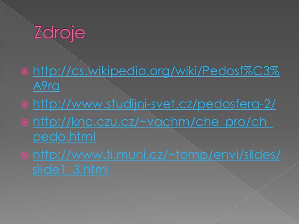  http://cs.wikipedia.org/wiki/Pedosf%C3% A9ra http://cs.wikipedia.org/wiki/Pedosf%C3% A9ra  http://www.studijni-svet.cz/pedosfera-2/ http://www.studijni-svet.cz/pedosfera-2/  http://knc.czu.cz/~vachm/che_pro/ch_ pedo.html http://knc.czu.cz/~vachm/che_pro/ch_ pedo.html  http://www.fi.muni.cz/~tomp/envi/slides/ slide1_3.html http://www.fi.muni.cz/~tomp/envi/slides/ slide1_3.html