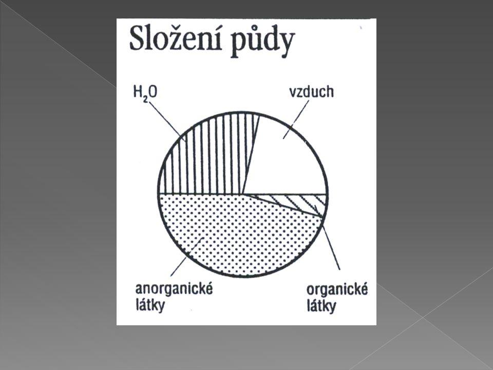  a) částice menší než 2mm - jemnozem - jílovité částice, prach, písek  b) částice větší než 2mm - skelet - krupnatý písek, štěrk, kamení