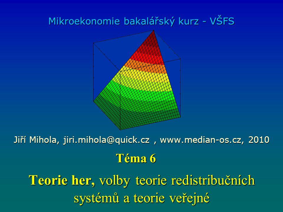 Teorie her, volbyteorie redistribučních systémů a teorie veřejné Teorie her, volby teorie redistribučních systémů a teorie veřejné Mikroekonomie bakal