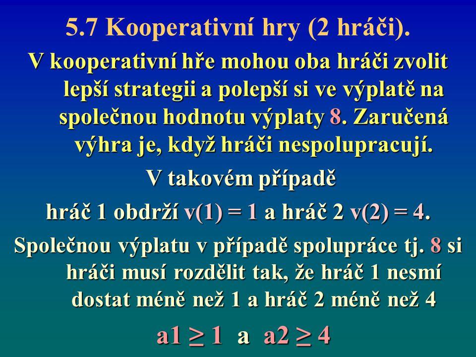 5.7 Kooperativní hry (2 hráči). V kooperativní hře mohou oba hráči zvolit lepší strategii a polepší si ve výplatě na společnou hodnotu výplaty 8. Zaru