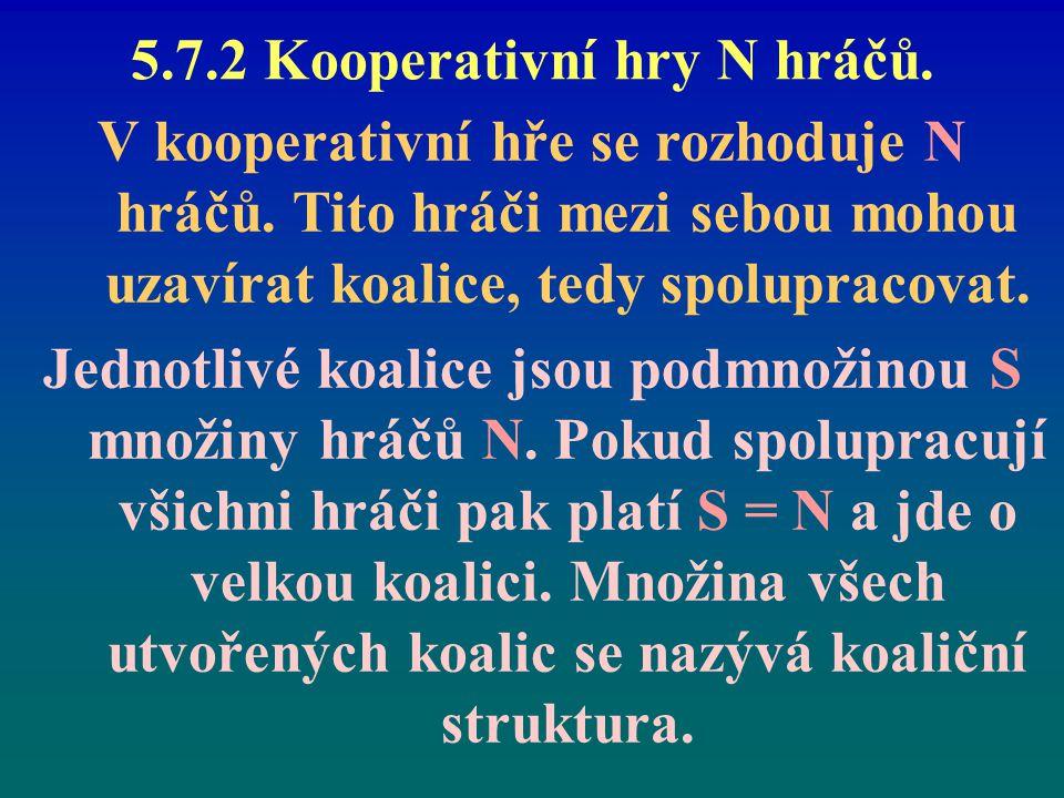5.7.2 Kooperativní hry N hráčů.V kooperativní hře se rozhoduje N hráčů.