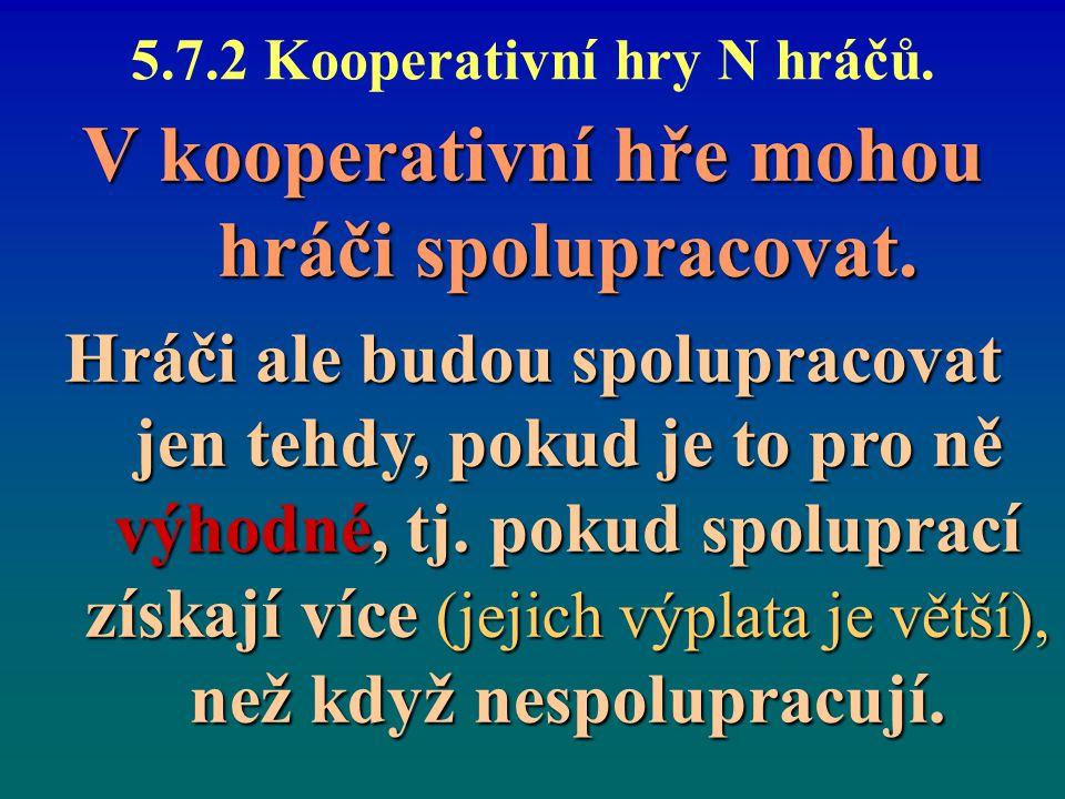 5.7.2 Kooperativní hry N hráčů.V kooperativní hře mohou hráči spolupracovat.
