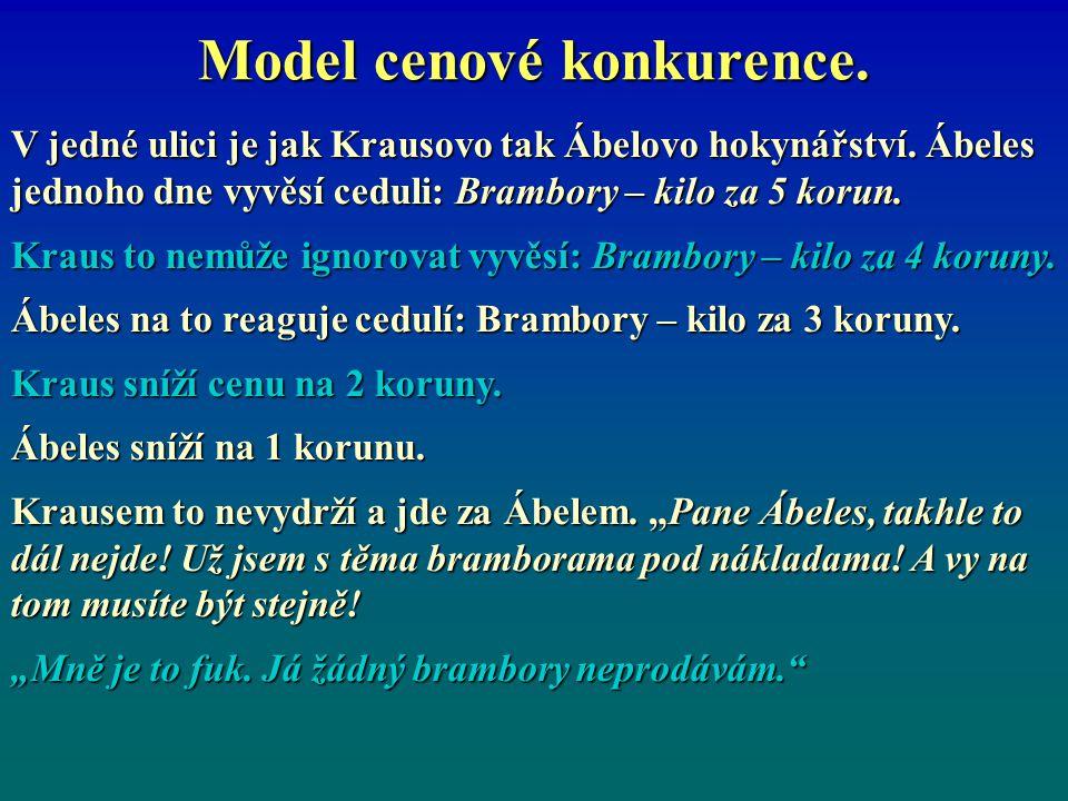 Model cenové konkurence.V jedné ulici je jak Krausovo tak Ábelovo hokynářství.