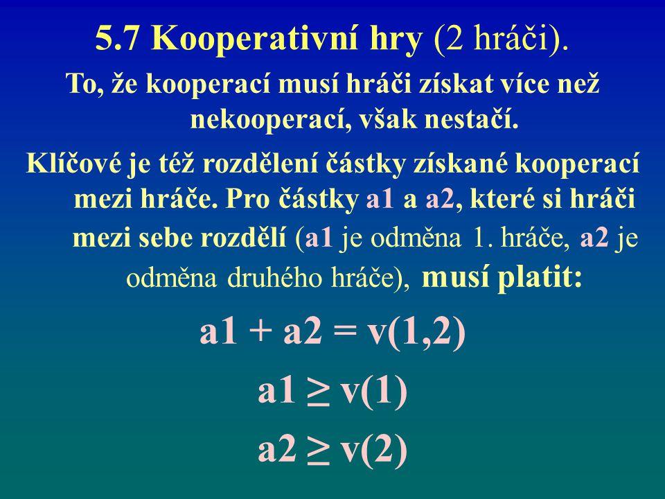 5.7 Kooperativní hry (2 hráči). To, že kooperací musí hráči získat více než nekooperací, však nestačí. Klíčové je též rozdělení částky získané koopera