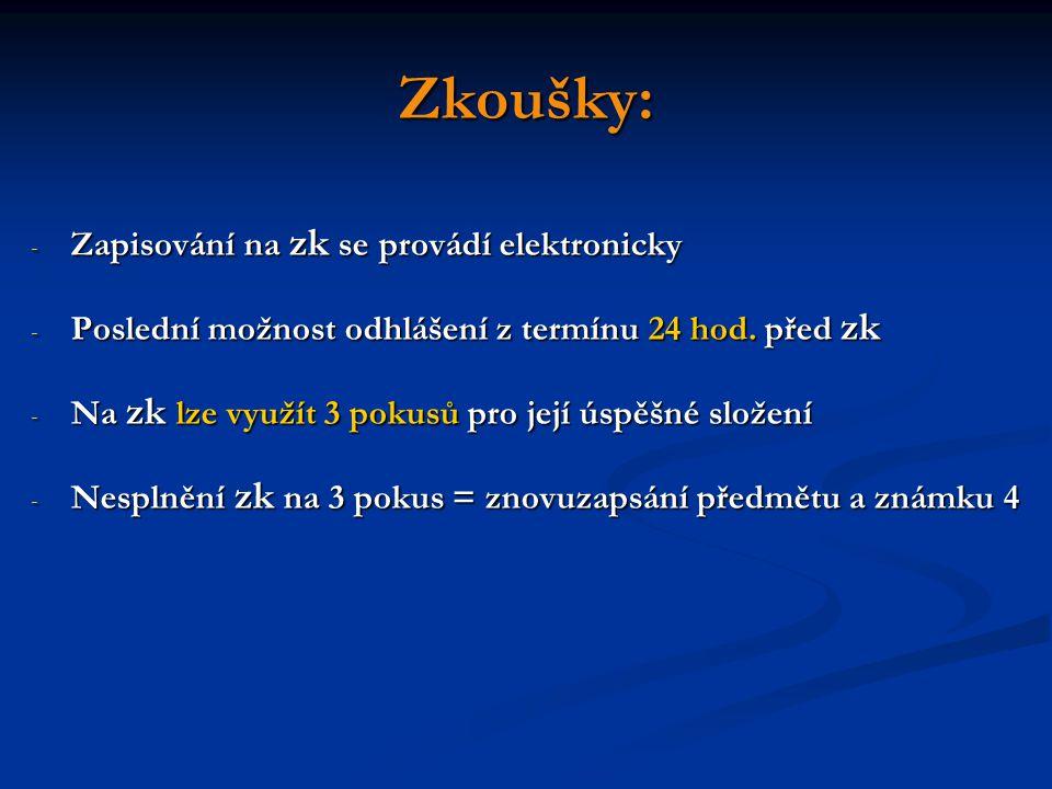 Zkoušky: - Zapisování na zk se provádí elektronicky - Poslední možnost odhlášení z termínu 24 hod.