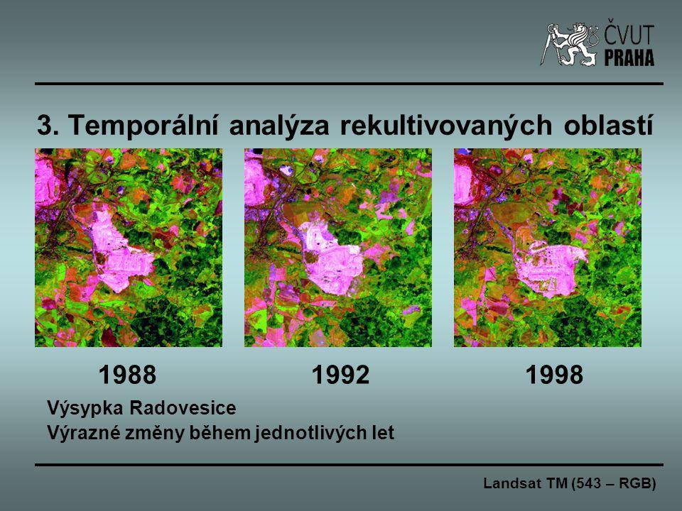 3. Temporální analýza rekultivovaných oblastí 1988 1992 1998 Výsypka Radovesice Výrazné změny během jednotlivých let Landsat TM (543 – RGB)