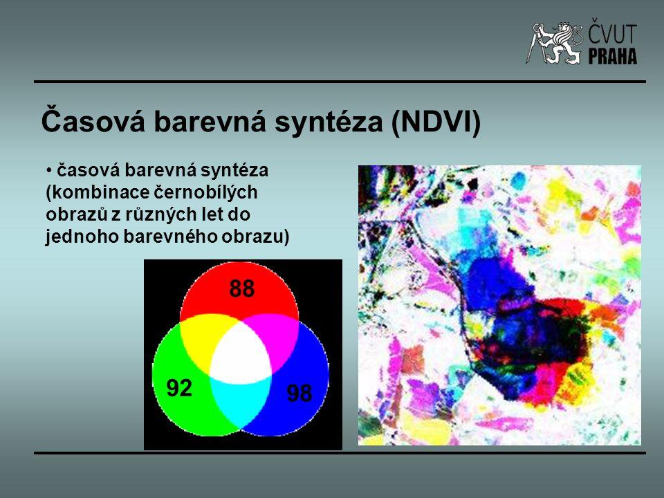 Časová barevná syntéza (NDVI) časová barevná syntéza (kombinace černobílých obrazů z různých let do jednoho barevného obrazu) 88 92 98