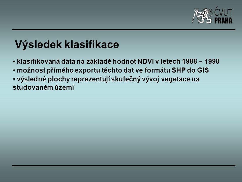 klasifikovaná data na základě hodnot NDVI v letech 1988 – 1998 možnost přímého exportu těchto dat ve formátu SHP do GIS výsledné plochy reprezentují s