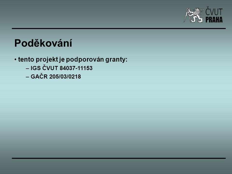 Poděkování tento projekt je podporován granty: – IGS ČVUT 84037-11153 – GAČR 205/03/0218
