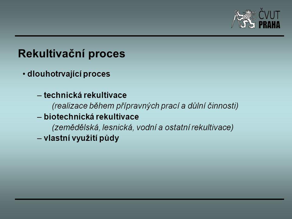 Rekultivační proces dlouhotrvající proces – technická rekultivace (realizace během přípravných prací a důlní činnosti) – biotechnická rekultivace (zem