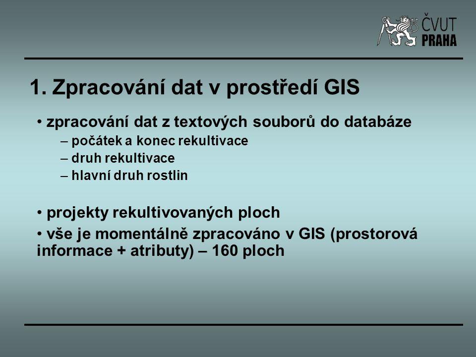 1. Zpracování dat v prostředí GIS zpracování dat z textových souborů do databáze – počátek a konec rekultivace – druh rekultivace – hlavní druh rostli