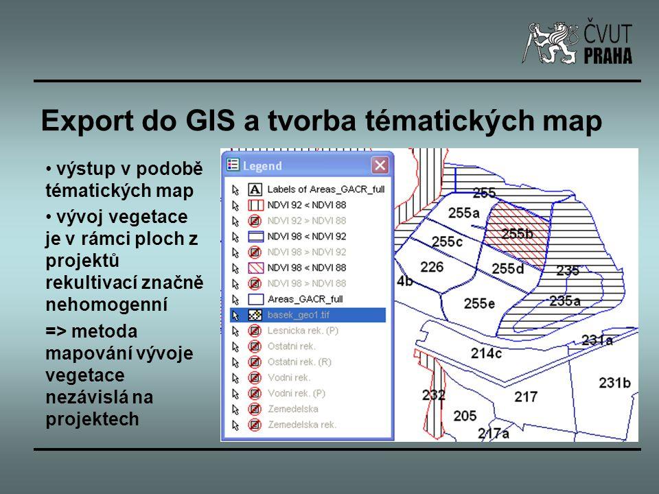 Export do GIS a tvorba tématických map výstup v podobě tématických map vývoj vegetace je v rámci ploch z projektů rekultivací značně nehomogenní => me
