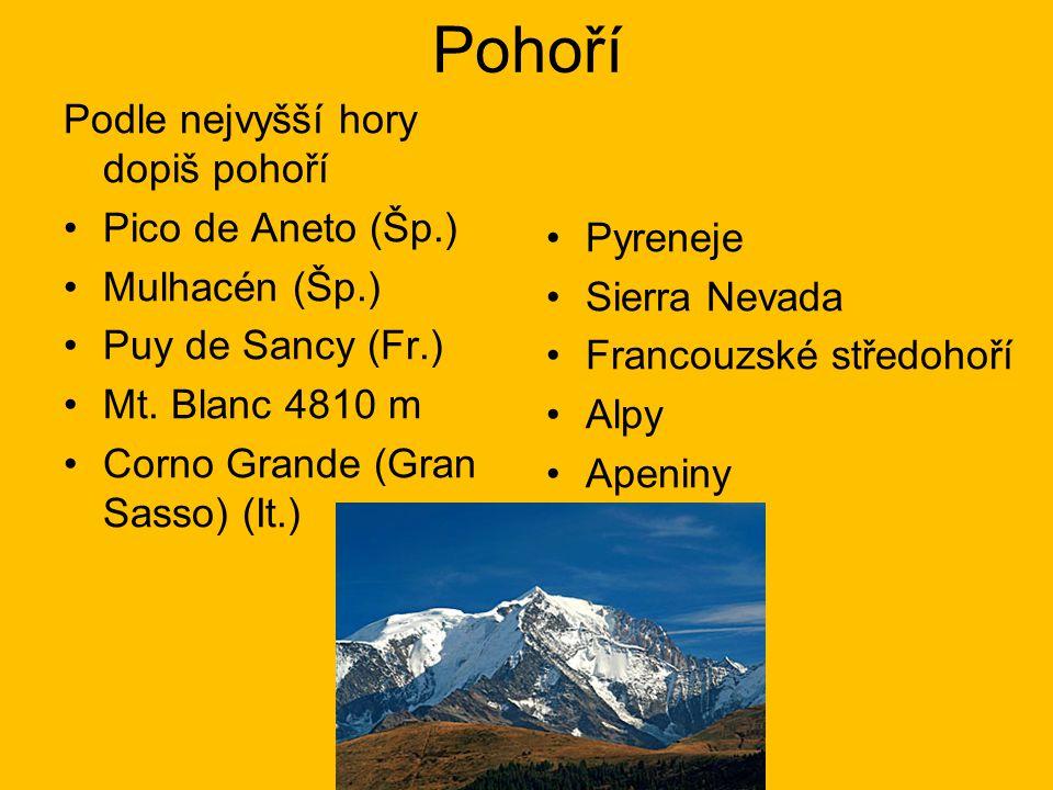 Pohoří Podle nejvyšší hory dopiš pohoří Pico de Aneto (Šp.) Mulhacén (Šp.) Puy de Sancy (Fr.) Mt. Blanc 4810 m Corno Grande (Gran Sasso) (It.) Pyrenej