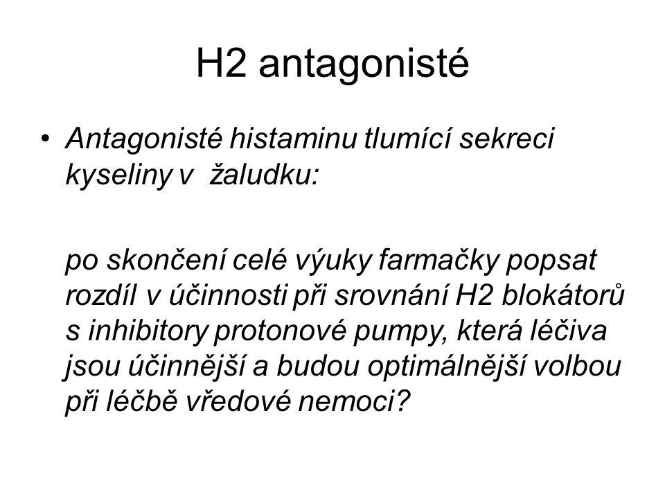 H2 antagonisté Antagonisté histaminu tlumící sekreci kyseliny v žaludku: po skončení celé výuky farmačky popsat rozdíl v účinnosti při srovnání H2 blo