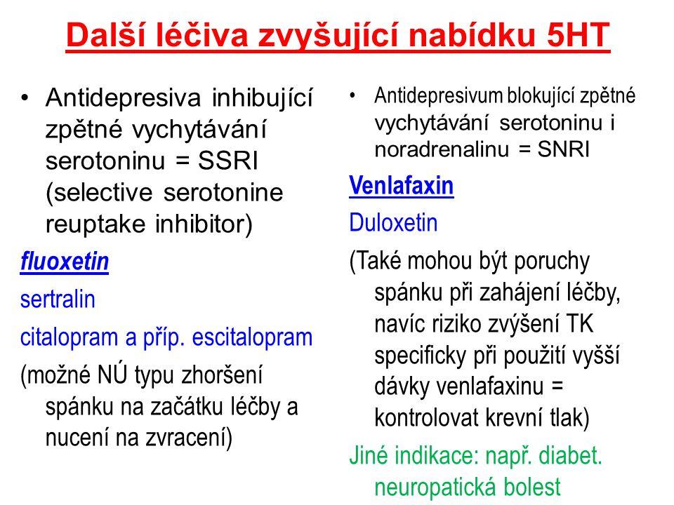 Další léčiva zvyšující nabídku 5HT Antidepresiva inhibující zpětné vychytávání serotoninu = SSRI (selective serotonine reuptake inhibitor) fluoxetin s