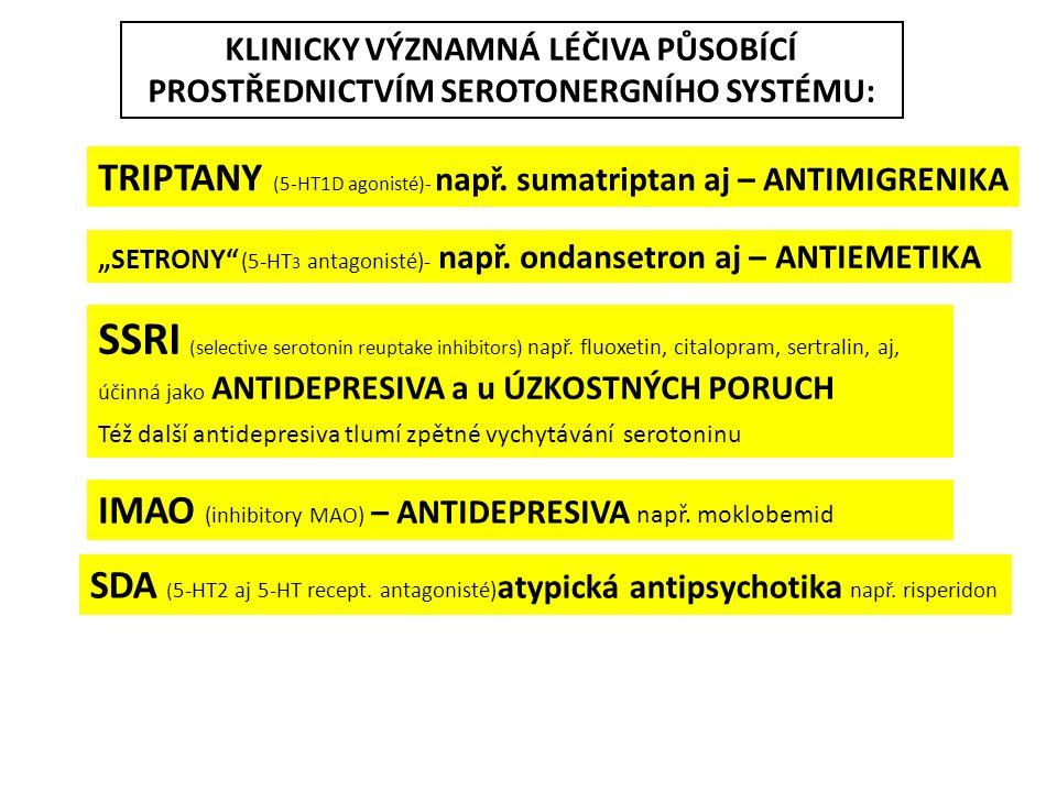 KLINICKY VÝZNAMNÁ LÉČIVA PŮSOBÍCÍ PROSTŘEDNICTVÍM SEROTONERGNÍHO SYSTÉMU: TRIPTANY (5-HT1D agonisté)- např. sumatriptan aj – ANTIMIGRENIKA SSRI (selec