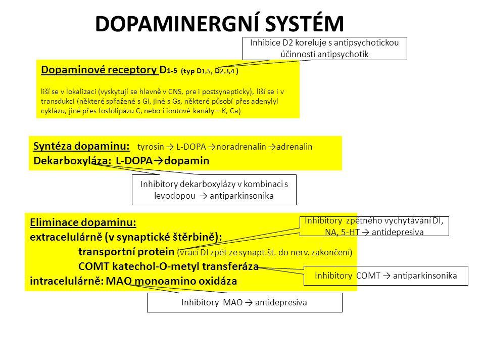 Dopaminové receptory D 1-5 (typ D 1,5, D 2,3,4 ) liší se v lokalizaci (vyskytují se hlavně v CNS, pre i postsynapticky), liší se i v transdukci (někte