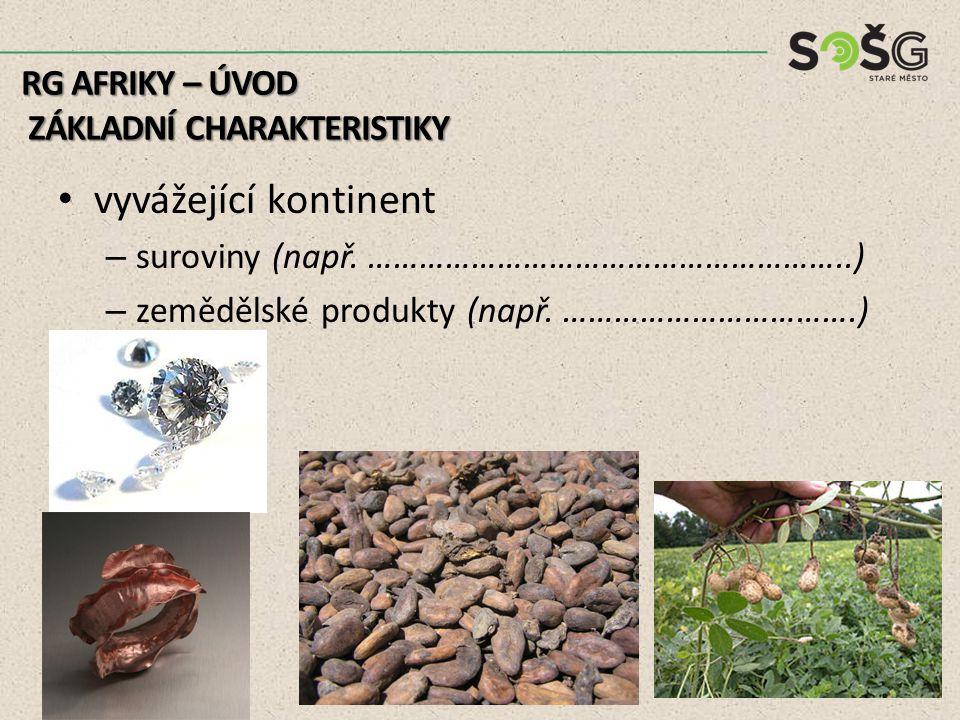 vyvážející kontinent – suroviny (např. ………………………………………………..) – zemědělské produkty (např.