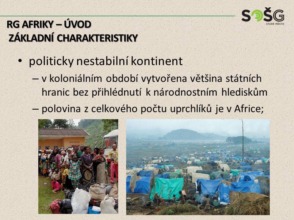 politicky nestabilní kontinent – v koloniálním období vytvořena většina státních hranic bez přihlédnutí k národnostním hlediskům – polovina z celkového počtu uprchlíků je v Africe; RG AFRIKY – ÚVOD ZÁKLADNÍ CHARAKTERISTIKY ZÁKLADNÍ CHARAKTERISTIKY