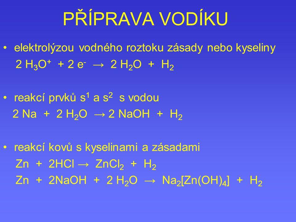 PŘÍPRAVA VODÍKU elektrolýzou vodného roztoku zásady nebo kyseliny 2 H 3 O + + 2 e - → 2 H 2 O + H 2 reakcí prvků s 1 a s 2 s vodou 2 Na + 2 H 2 O → 2