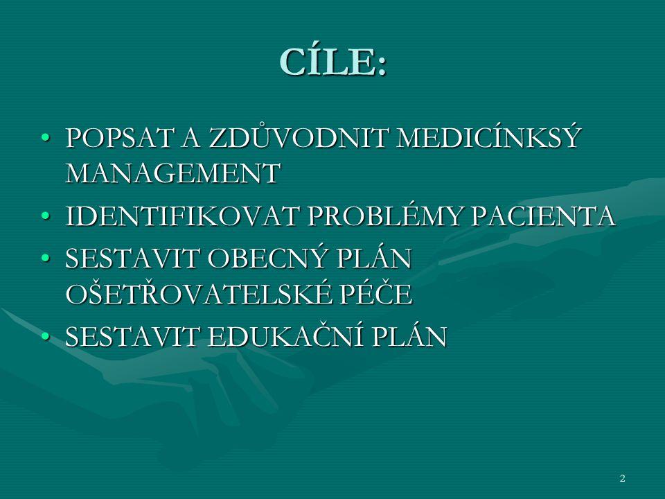 2 CÍLE: POPSAT A ZDŮVODNIT MEDICÍNKSÝ MANAGEMENTPOPSAT A ZDŮVODNIT MEDICÍNKSÝ MANAGEMENT IDENTIFIKOVAT PROBLÉMY PACIENTAIDENTIFIKOVAT PROBLÉMY PACIENT