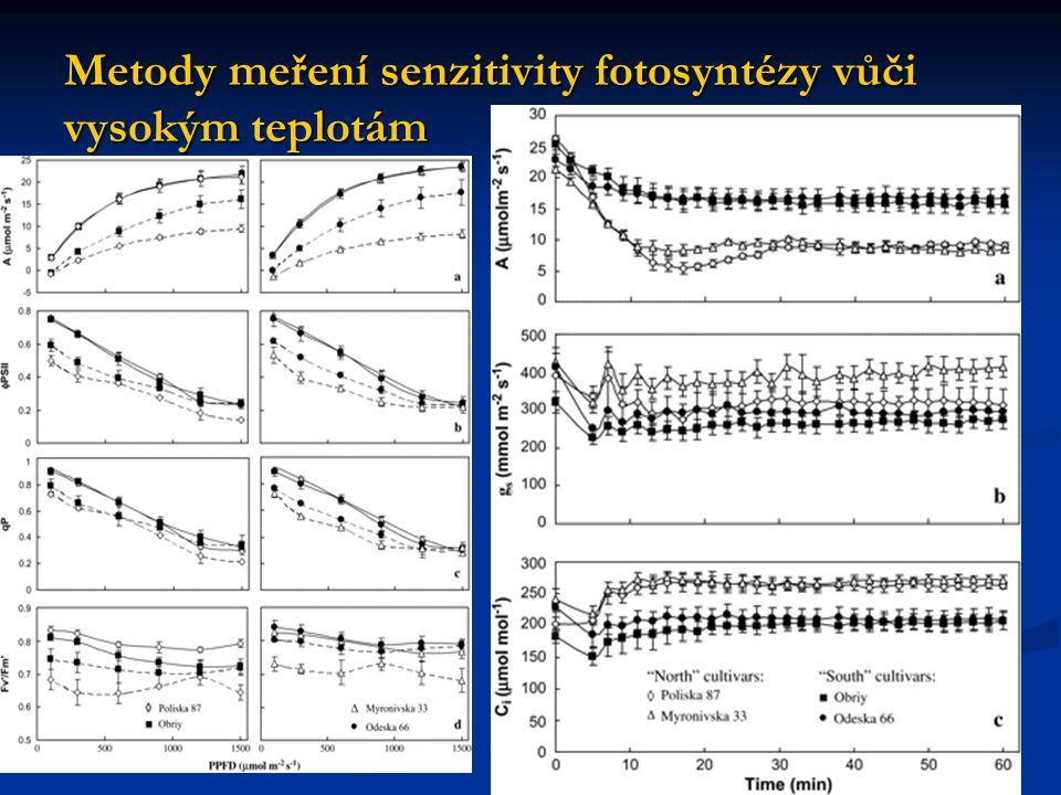 Metody meření senzitivity fotosyntézy vůči vysokým teplotám