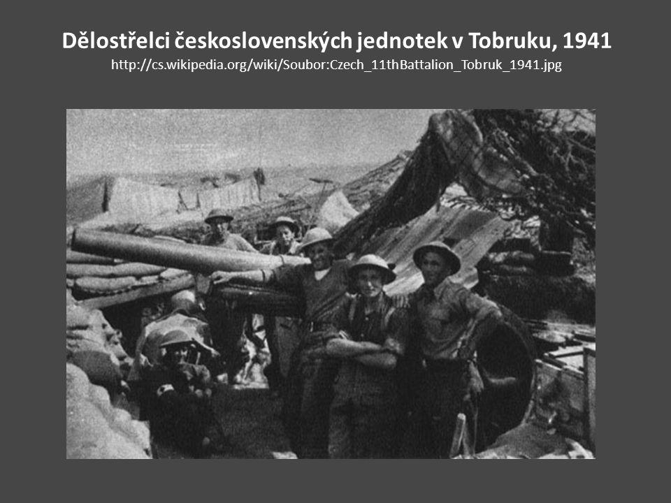 Dělostřelci československých jednotek v Tobruku, 1941 http://cs.wikipedia.org/wiki/Soubor:Czech_11thBattalion_Tobruk_1941.jpg
