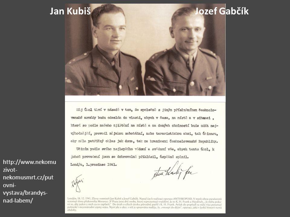 Jan KubišJozef Gabčík http://www.nekomu zivot- nekomusmrt.cz/put ovni- vystava/brandys- nad-labem/