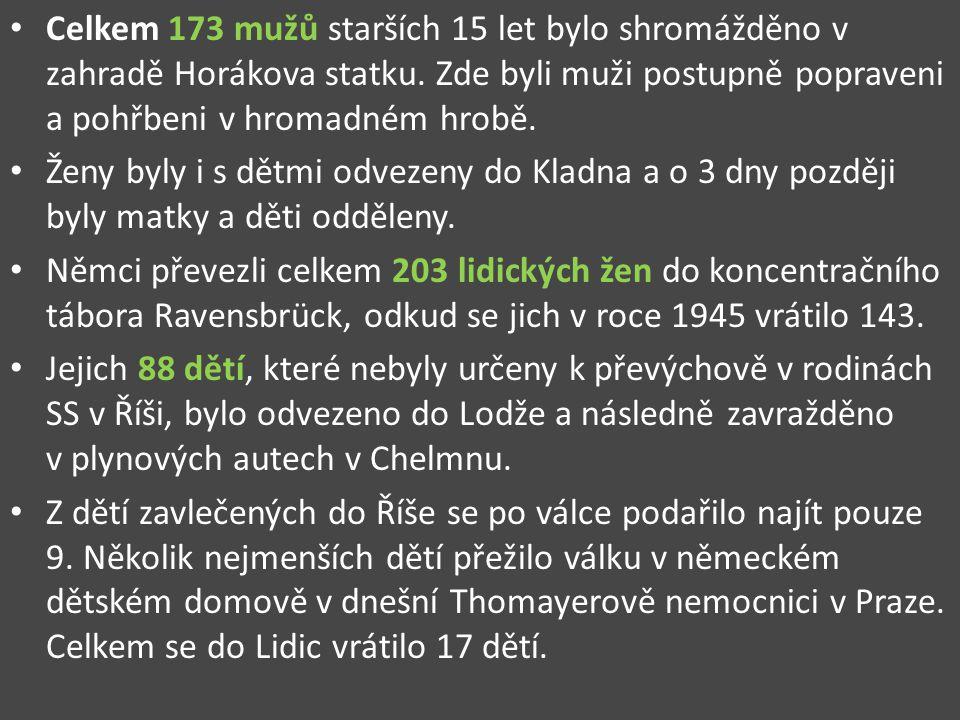 Celkem 173 mužů starších 15 let bylo shromážděno v zahradě Horákova statku. Zde byli muži postupně popraveni a pohřbeni v hromadném hrobě. Ženy byly i