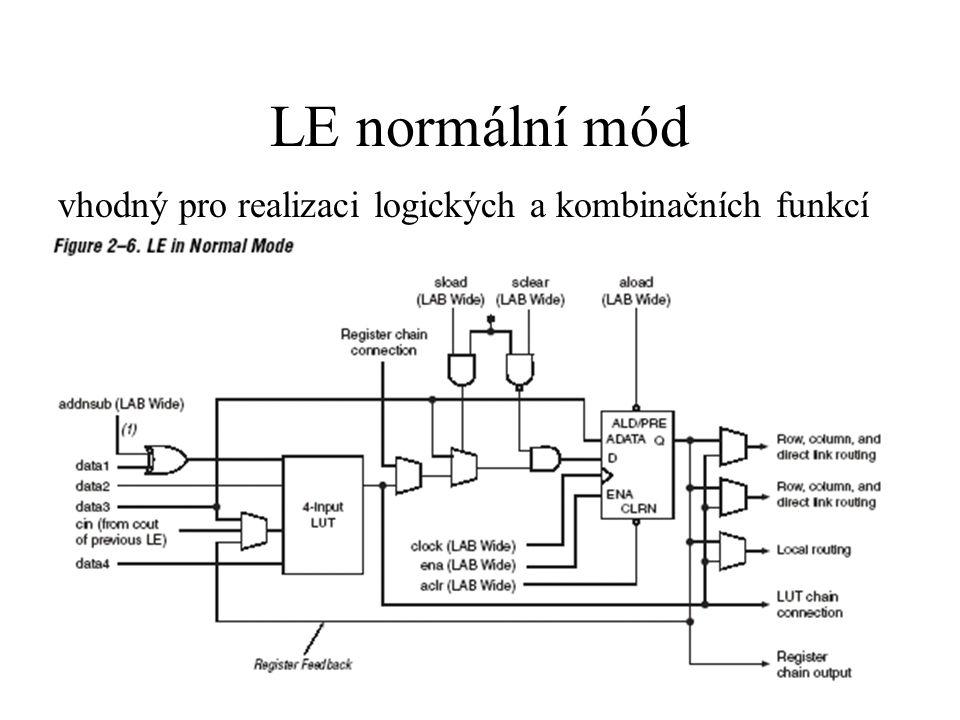 LE normální mód vhodný pro realizaci logických a kombinačních funkcí