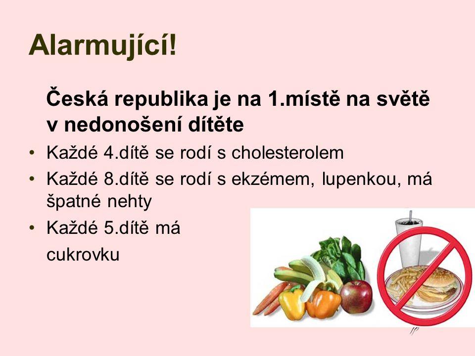 Alarmující! Česká republika je na 1.místě na světě v nedonošení dítěte Každé 4.dítě se rodí s cholesterolem Každé 8.dítě se rodí s ekzémem, lupenkou,