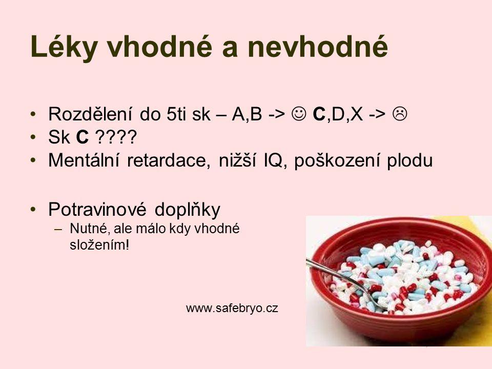 Léky vhodné a nevhodné Rozdělení do 5ti sk – A,B -> C,D,X ->  Sk C ???? Mentální retardace, nižší IQ, poškození plodu Potravinové doplňky –Nutné, ale