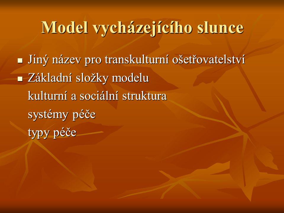 Model vycházejícího slunce Jiný název pro transkulturní ošetřovatelství Jiný název pro transkulturní ošetřovatelství Základní složky modelu Základní s