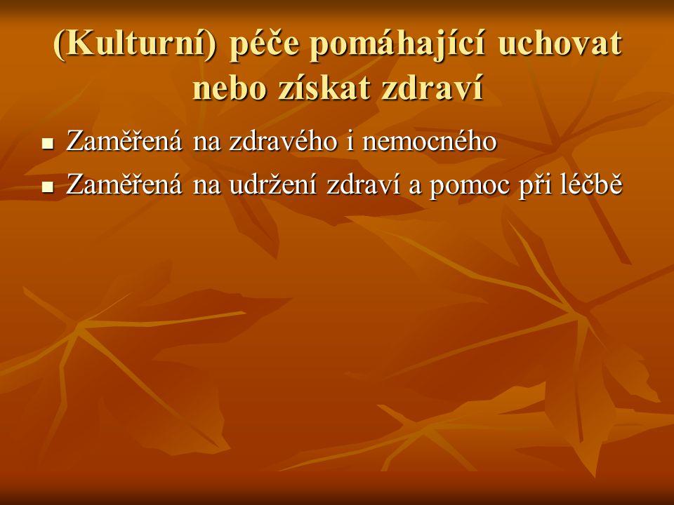 (Kulturní) péče pomáhající uchovat nebo získat zdraví Zaměřená na zdravého i nemocného Zaměřená na zdravého i nemocného Zaměřená na udržení zdraví a p