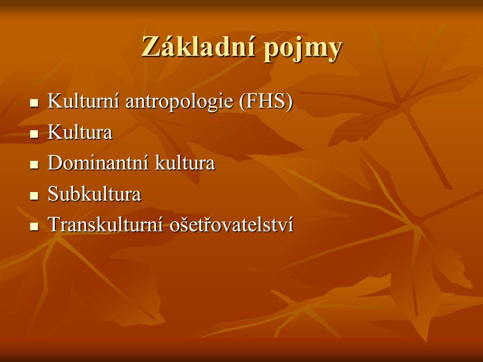 Základní pojmy Kulturní antropologie (FHS) Kulturní antropologie (FHS) Kultura Kultura Dominantní kultura Dominantní kultura Subkultura Subkultura Tra