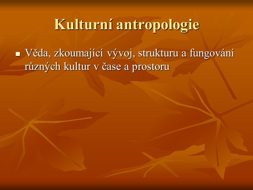 Kulturní antropologie Věda, zkoumající vývoj, strukturu a fungování různých kultur v čase a prostoru Věda, zkoumající vývoj, strukturu a fungování růz