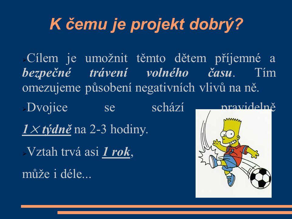 K čemu je projekt dobrý.  Cílem je umožnit těmto dětem příjemné a bezpečné trávení volného času.