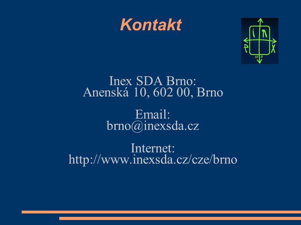 Kontakt Inex SDA Brno: Anenská 10, 602 00, Brno Email: brno@inexsda.cz Internet: http://www.inexsda.cz/cze/brno