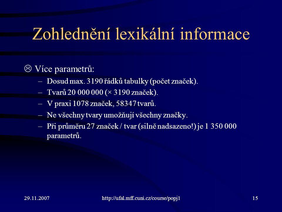 29.11.2007http://ufal.mff.cuni.cz/course/popj115 Zohlednění lexikální informace  Více parametrů: –Dosud max.
