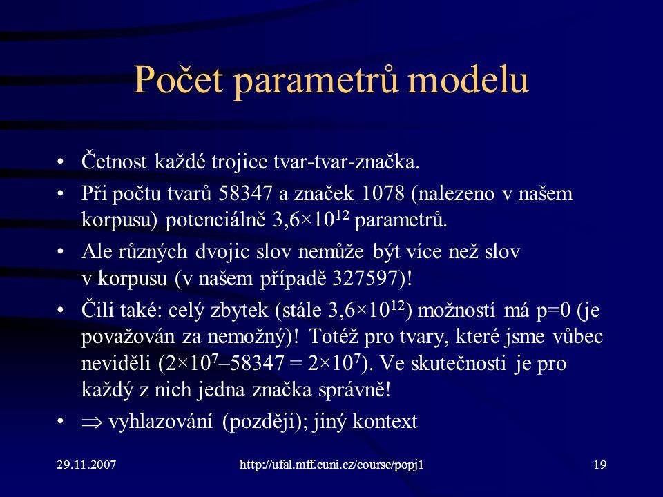 29.11.2007http://ufal.mff.cuni.cz/course/popj119 Počet parametrů modelu Četnost každé trojice tvar-tvar-značka.