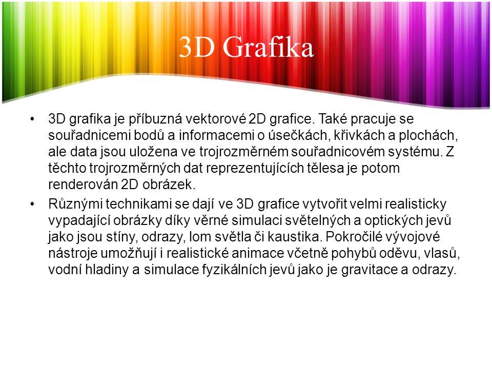 3D Grafika 3D grafika je příbuzná vektorové 2D grafice. Také pracuje se souřadnicemi bodů a informacemi o úsečkách, křivkách a plochách, ale data jsou