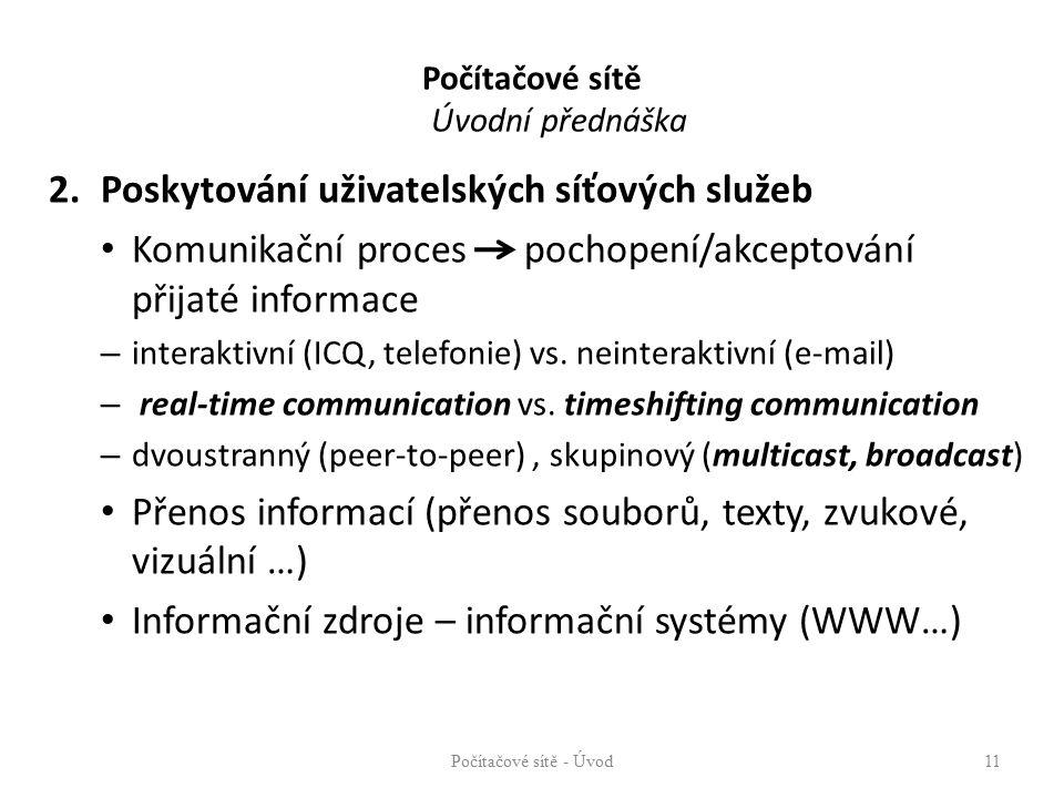 Počítačové sítě Úvodní přednáška 2.Poskytování uživatelských síťových služeb Komunikační proces pochopení/akceptování přijaté informace – interaktivní (ICQ, telefonie) vs.