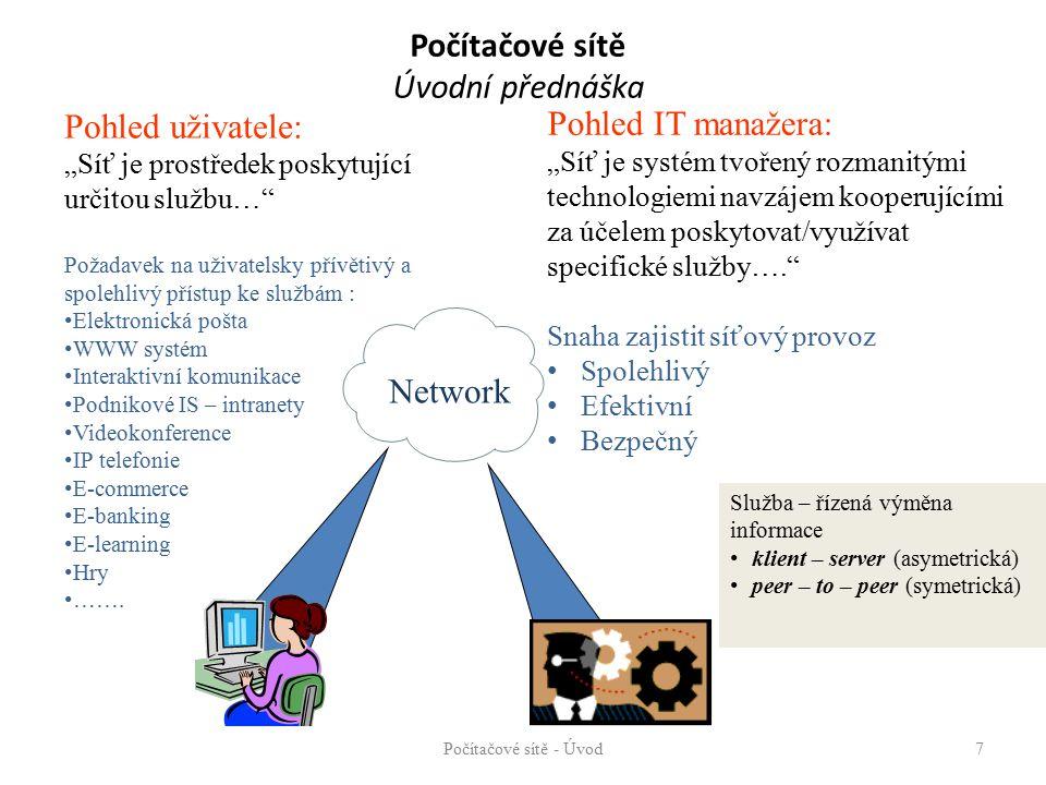 """Počítačové sítě Úvodní přednáška Počítačové sítě - Úvod7 Pohled uživatele: """"Síť je prostředek poskytující určitou službu… Požadavek na uživatelsky přívětivý a spolehlivý přístup ke službám : Elektronická pošta WWW systém Interaktivní komunikace Podnikové IS – intranety Videokonference IP telefonie E-commerce E-banking E-learning Hry ……."""