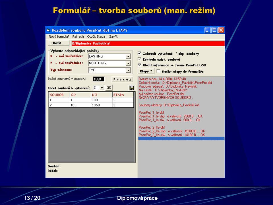 13 / 20Diplomová práce Formulář – tvorba souborů (man. režim)