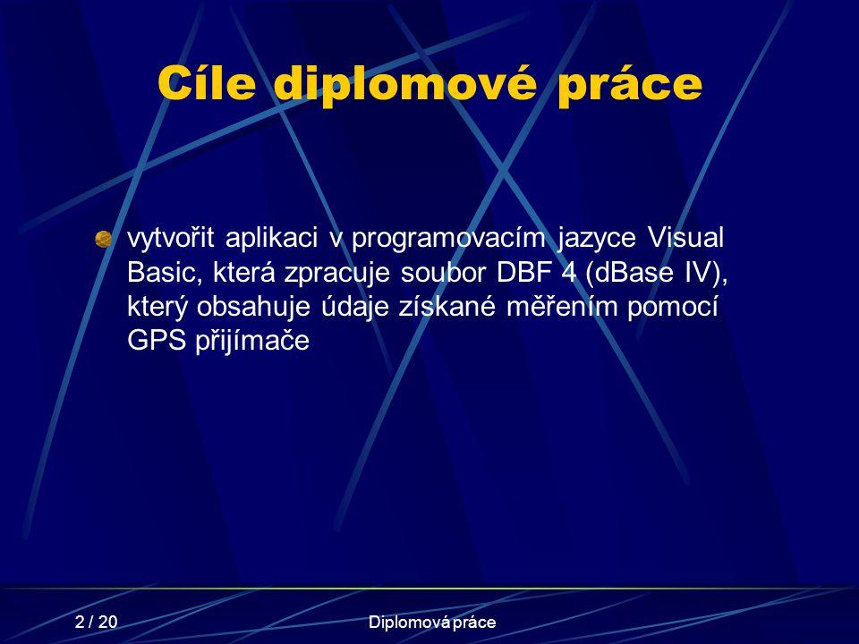 2 / 20Diplomová práce Cíle diplomové práce vytvořit aplikaci v programovacím jazyce Visual Basic, která zpracuje soubor DBF 4 (dBase IV), který obsahu