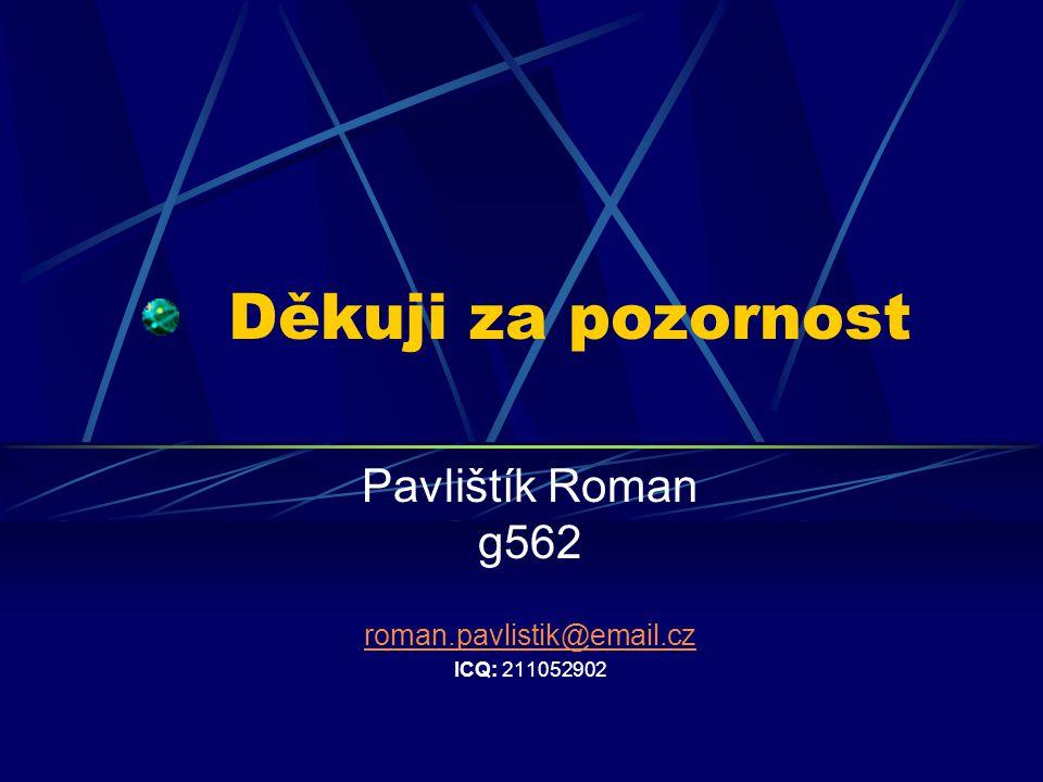 Děkuji za pozornost Pavlištík Roman g562 roman.pavlistik@email.cz ICQ: 211052902
