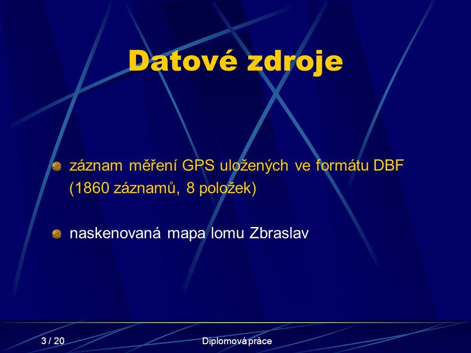 3 / 20Diplomová práce Datové zdroje záznam měření GPS uložených ve formátu DBF (1860 záznamů, 8 položek) naskenovaná mapa lomu Zbraslav